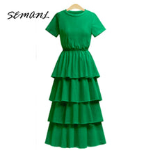 Load image into Gallery viewer, 2018 New Summer European Style Women Cascading Ruffles Dresses Empire Short Sleeve Ladies Robe Solid Color Knitting Vestidos