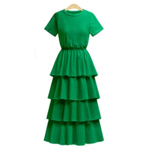 2018 New Summer European Style Women Cascading Ruffles Dresses Empire Short Sleeve Ladies Robe Solid Color Knitting Vestidos