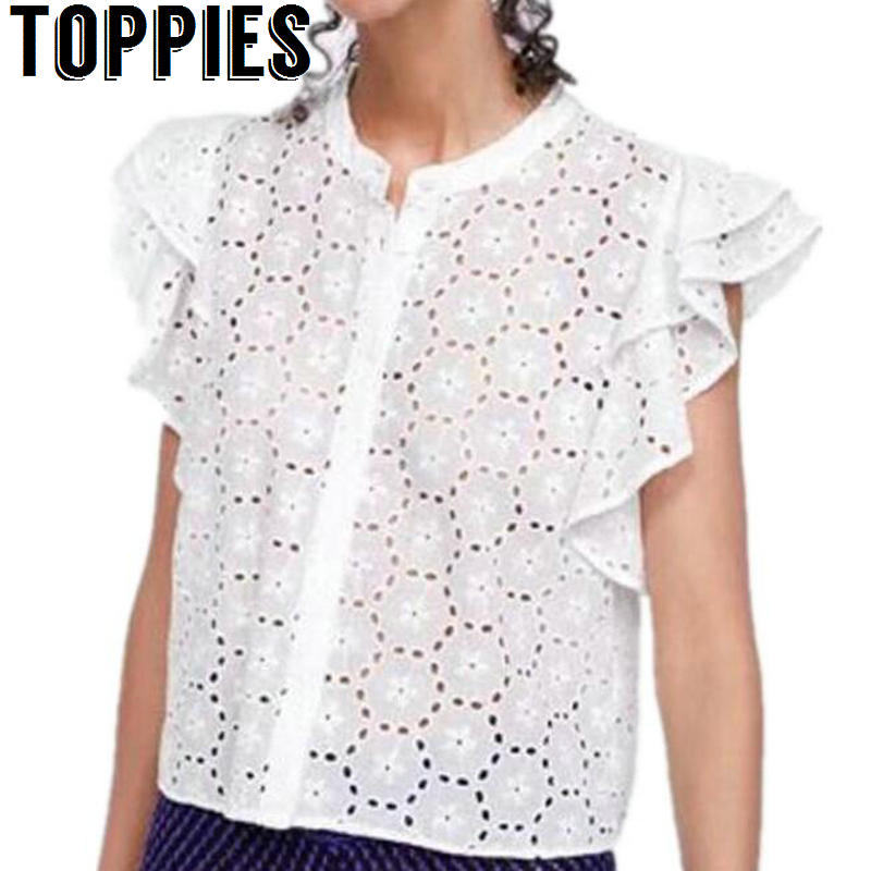 Toppies Women 2019 Summer Women Short Sleeves White Blouse Hollow Out Ruffle Sleeves Tops Eyelet Embroidery Shirt for Women