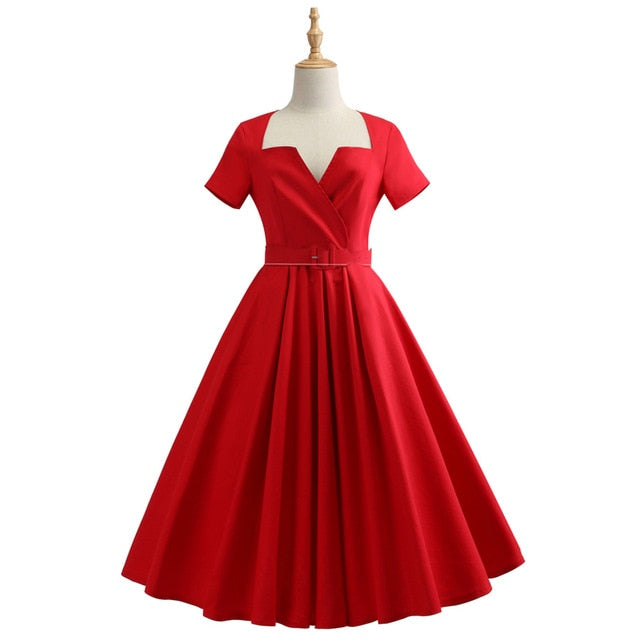 Kenancy Short Sleeves Plus Size Vintage Dress Belt Cotton Solid Black/Red Audrey Hepburn Retro Dress Party Vestidos Office Dress