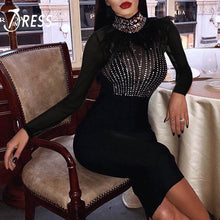 Load image into Gallery viewer, INDRESSME Women Spring Dress Sexy Full Sleeve Feather Beading Stand Neck Mesh Knee Length Party Bandage Club Dress Vestidos 2019