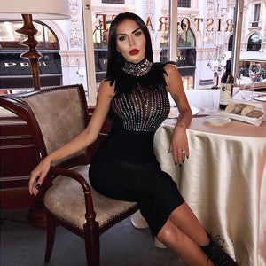 INDRESSME Women Spring Dress Sexy Full Sleeve Feather Beading Stand Neck Mesh Knee Length Party Bandage Club Dress Vestidos 2019