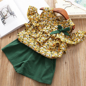 Girls Suits 2019 New Summer Style Beautiful Floral Flower Sleeve Children Vest Clothing Shorts Suit With Belt 2 Pieces Clothes