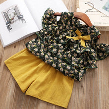 Load image into Gallery viewer, Girls Suits 2019 New Summer Style Beautiful Floral Flower Sleeve Children Vest Clothing Shorts Suit With Belt 2 Pieces Clothes