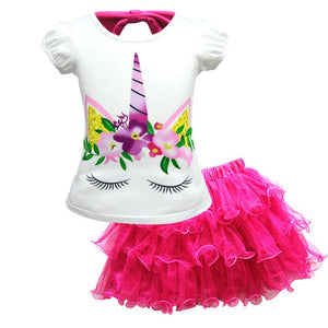 Baby Girls T-shirt +Dress Unicorn Costume for Kids Children Party Dresses Set Clothes Princess  Cosplay Set