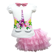 Load image into Gallery viewer, Baby Girls T-shirt +Dress Unicorn Costume for Kids Children Party Dresses Set Clothes Princess  Cosplay Set