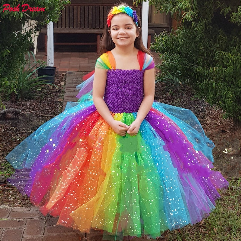POSH DREAM Sparkly Unicorn Kids Girls Inspired Dress Rainbow Tutu Dresses Pony Costume Rainbow Birthday Party Clothes for 12Year