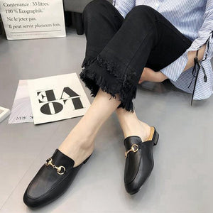 2018 spring and summer new metal buckle Baotou half flat sandals and slippers large size women's shoes 34-41 yards.
