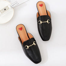 Load image into Gallery viewer, 2018 spring and summer new metal buckle Baotou half flat sandals and slippers large size women's shoes 34-41 yards.