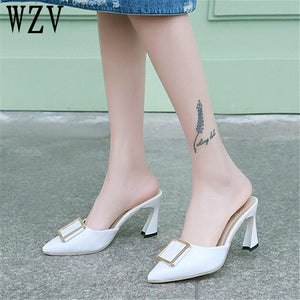 2018 New Women sandals Korea Style High heels slipper Summer pointed toe Woman Shoes High Heels Slippers shoes woman