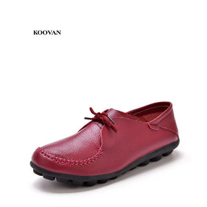 Koovan Women Flats 2018 New Women's Shoes Peas Nurses Genuine Leather Pregnant Woman Flat Shoes Large Yard Breathable Slip Mama