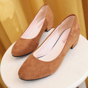 2018 autumn new round head thick with single shoes suede shallow mouth women's professional low-heeled work shoes