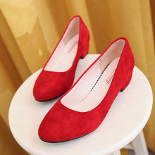 Load image into Gallery viewer, 2018 autumn new round head thick with single shoes suede shallow mouth women's professional low-heeled work shoes