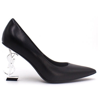 Black patent leather letter Y-L with the same paragraph shallow mouth pointed sexy night shop single shoes female models