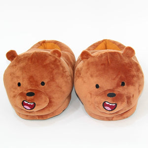 indoor flock plush furry cartoon slippers for adult warm dog shoes women animal house cosplay costume home winter anime slipper