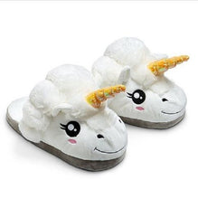 Load image into Gallery viewer, indoor flock plush furry cartoon slippers for adult warm dog shoes women animal house cosplay costume home winter anime slipper