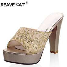 Load image into Gallery viewer, REAVE CAT Large size 32-43 Brand Peep Toes Women high heels flip flops Sexy Elegant Fashion Sequined Cloth Summer sandals QL4260
