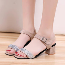 Load image into Gallery viewer, SAGACE Shoes Sandals Women Solid Crystal Square Toe Wedges Hook Loop High Heeled Shoes sandals summer 2018JUL4