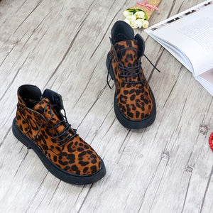New Shoes woman 2018 flat heel boots with British Martin boots leopard student snow women's boots sexy luxury famous brand 35-40