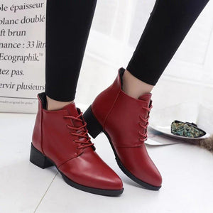 Vintage Boots Thick Short Boots Women's Leather Boots Ankle Boots for dropshipping 20180823