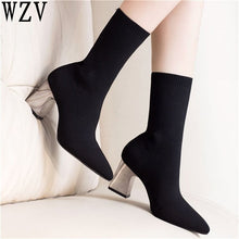 Load image into Gallery viewer, Size 41 Autumn 8cm Sexy Booties Pointed Toe Women Pumps Fashion Elastic Sock Ankle Boots Chunky High Heels Stretch Women F314