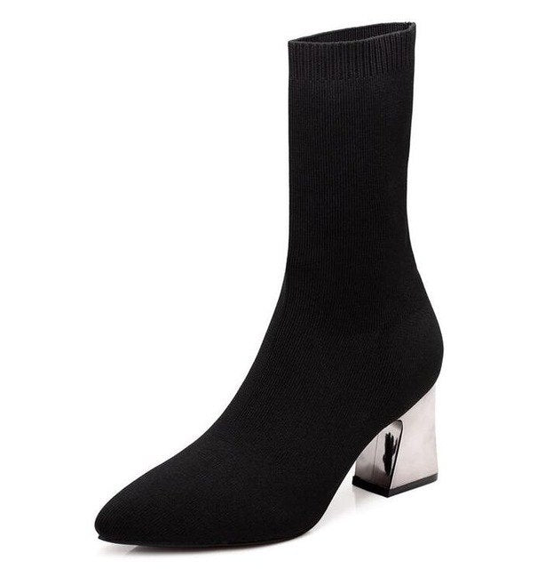 Size 41 Autumn 8cm Sexy Booties Pointed Toe Women Pumps Fashion Elastic Sock Ankle Boots Chunky High Heels Stretch Women F314
