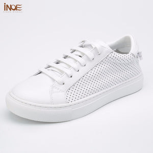 INOE fashion style genuine cow leather women casual summer sneakers spring shoes leisure breathable mesh shoes flats white