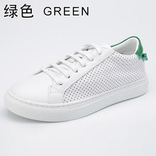 Load image into Gallery viewer, INOE fashion style genuine cow leather women casual summer sneakers spring shoes leisure breathable mesh shoes flats white
