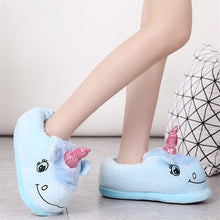 Load image into Gallery viewer, Feiyitu NEW Slippers Winter lovely Home Slippers Cartoon Plush Chausson Licorne White Shoes Women Unicorn shoes pink purple