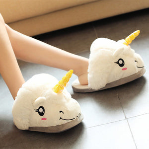 Feiyitu NEW Slippers Winter lovely Home Slippers Cartoon Plush Chausson Licorne White Shoes Women Unicorn shoes pink purple