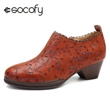 Load image into Gallery viewer, SOCOFY Retro Bohemian Women Pumps Flowers Pattern Hollow Genuine Leather Heel Comfortable Stitching Zipper Pumps Ladies Shoes