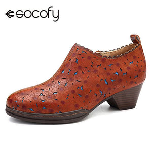 SOCOFY Retro Bohemian Women Pumps Flowers Pattern Hollow Genuine Leather Heel Comfortable Stitching Zipper Pumps Ladies Shoes