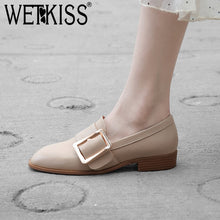 Load image into Gallery viewer, WETKISS Genuine Leather Wood Low Heels Women Pumps Square Toe Footwear Neutral Female Shoes Fashion Casual Shoes Woman 2019 New