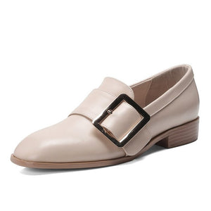 WETKISS Genuine Leather Wood Low Heels Women Pumps Square Toe Footwear Neutral Female Shoes Fashion Casual Shoes Woman 2019 New