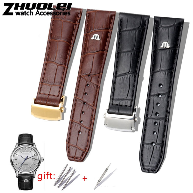 First layer calfskin strap for MAURICE LACROIX Eliros watchband cow genuine leather leather bands 20mm 22mm with folding buckle