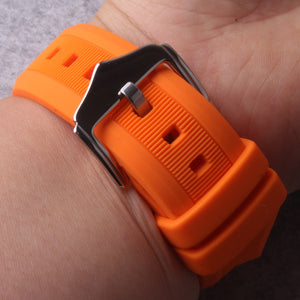 Watchband 12mm 14mm 16mm 18mm 19mm 20mm 22mm 24mm Black White Red Orange Blue Silicone Rubber Diver Watch Band Straps waterproof