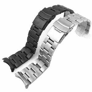 Watchband Arc Edge Stainless Steel Strap Arc Mouth bracelet metal band  20 22mm watch band For Casio For Seiko ect