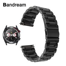 Load image into Gallery viewer, Bandream Quick Release Stainless Steel Watchband for Huawei Honor Watch Magic Wrist Band Metal Strap Sport Bracelet Black Silver