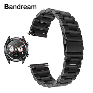 Bandream Quick Release Stainless Steel Watchband for Huawei Honor Watch Magic Wrist Band Metal Strap Sport Bracelet Black Silver