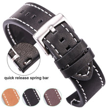 Load image into Gallery viewer, HENGRC Cowhide Genuine Leather Watchband Belt 18 20 22 24mm Men Women Thick Handmade Retro Watch Band Strap Metal Buckles