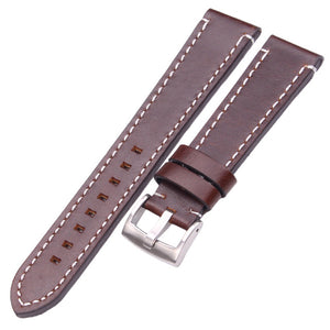 HENGRC Cowhide Genuine Leather Watchband Belt 18 20 22 24mm Men Women Thick Handmade Retro Watch Band Strap Metal Buckles