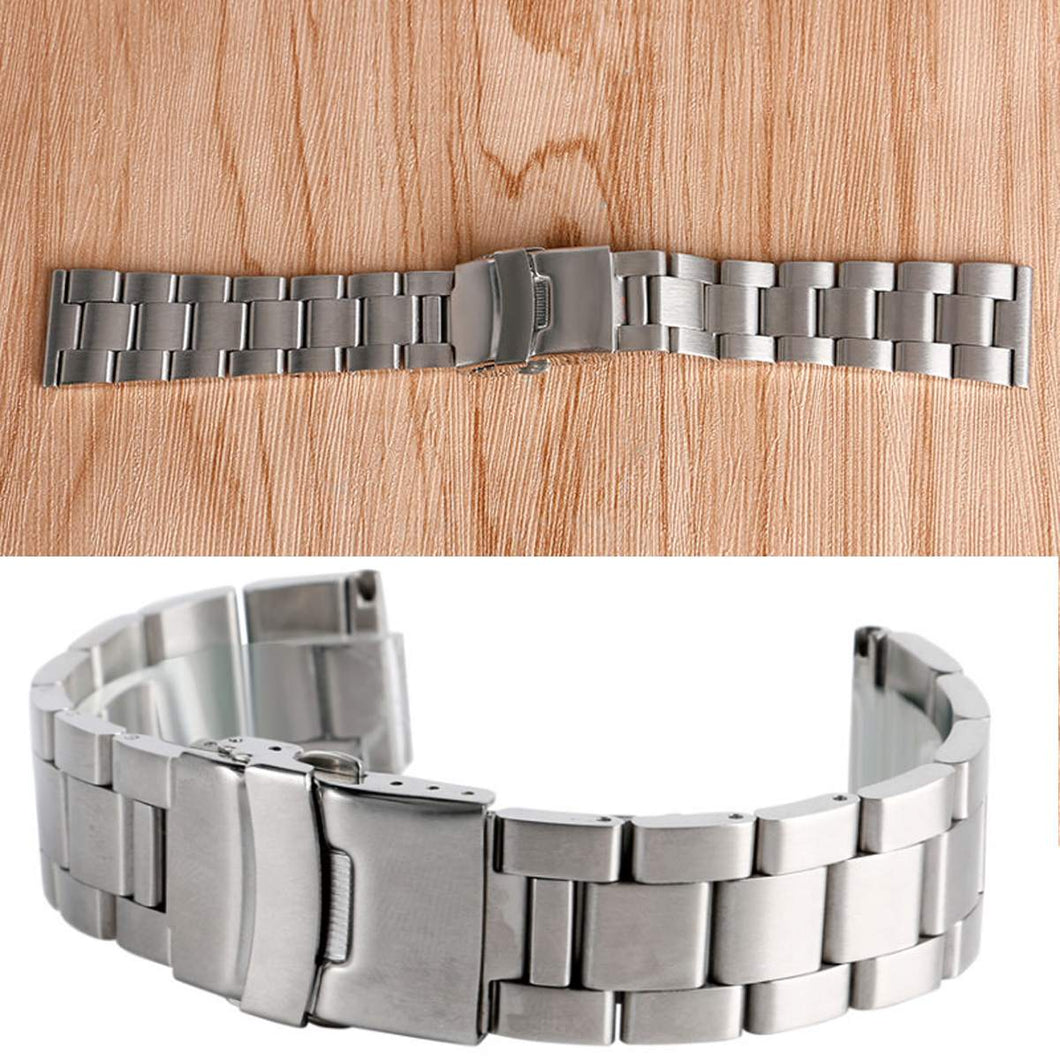 Universal 20MM/22MM/24MM Silver Stainless Steel Watch Bands Wrist Bracelet With Buckle Replacement Metal Wristbands