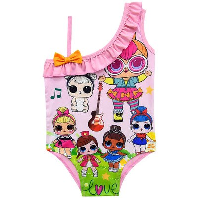 7d99dfd959 3-10Y Baby Girls One Pieces Swimsuit Bikini Cute Lol Dolls Princess Dress  Cartoon Pattern