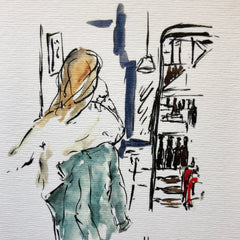 Aquarelle  « The girl at Real Ale»