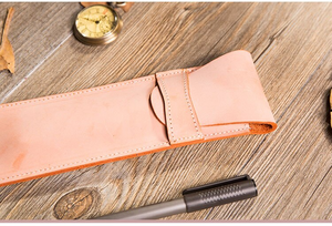 Italian Waxed Genuine Leather Pencil Case Handmade Pen Bag Pencil Bags Pen Case Pencil Case Fog Wax - The Stationery Life!