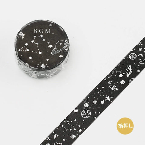 BGM Black Planet Constellation Spaceship Satellite Foil Washi Tape - The Stationery Life!