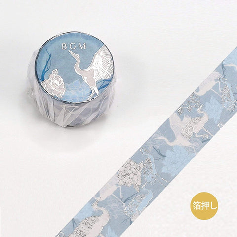BGM Crane Heron Bird Silver Foil Washi Tape - The Stationery Life!