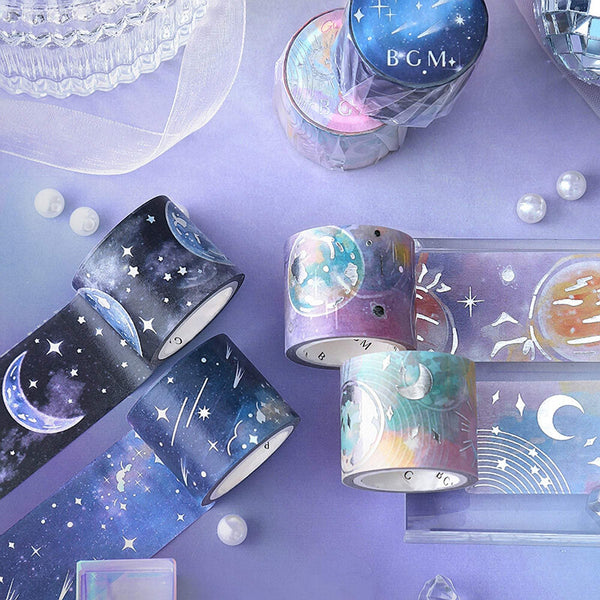 BGM Dark Galaxy Celestial Moon Silver Foil Washi Tape - The Stationery Life!