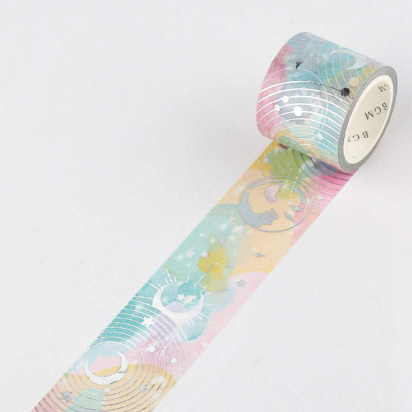 BGM Dark Galaxy Celestial Rainbow Outer Space Silver Foil Washi Tape - The Stationery Life!