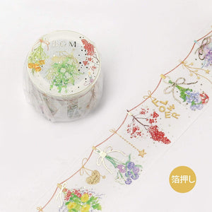BGM Dried Flowers Hanging Flowers GOLD FOIL Washi Tape - The Stationery Life!